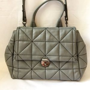 Milly Wythe Quilted Gray Leather Crossbody Bag